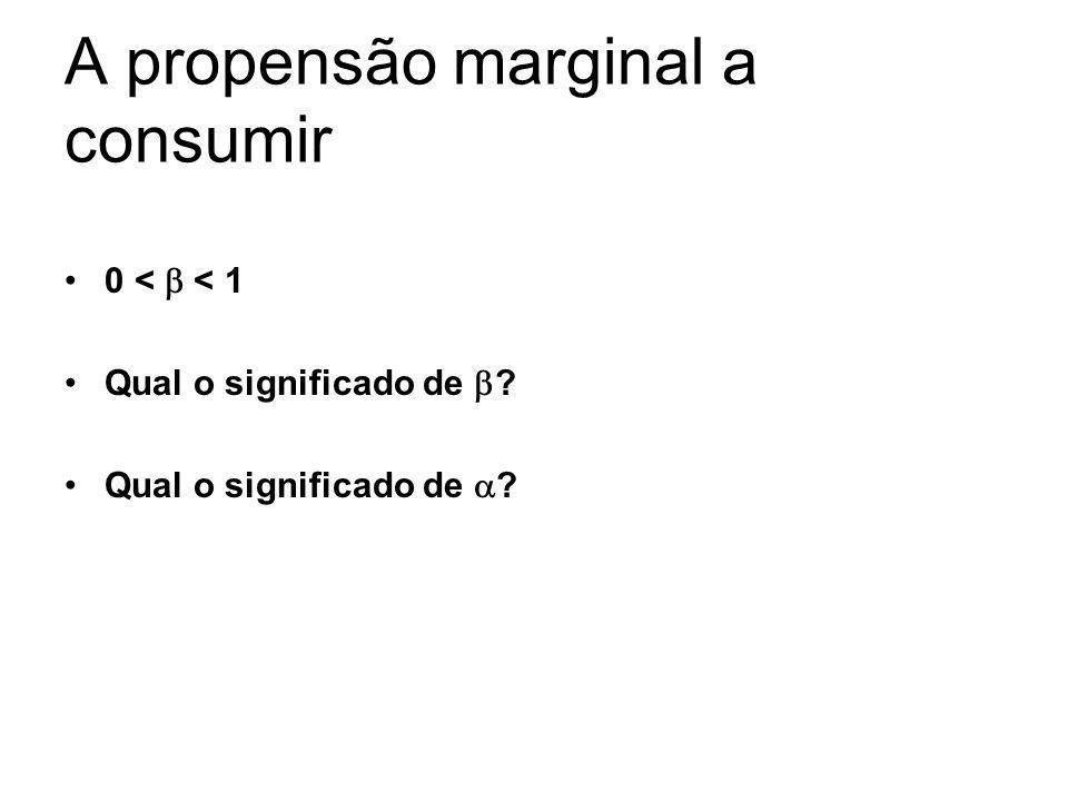 A propensão marginal a consumir