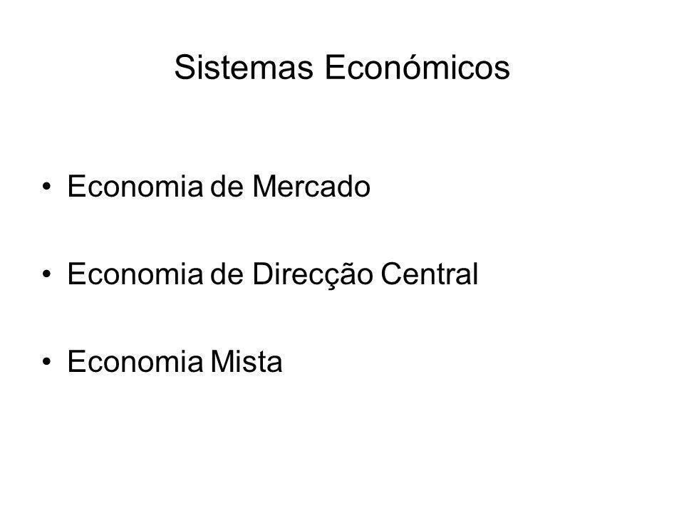 Sistemas Económicos Economia de Mercado Economia de Direcção Central