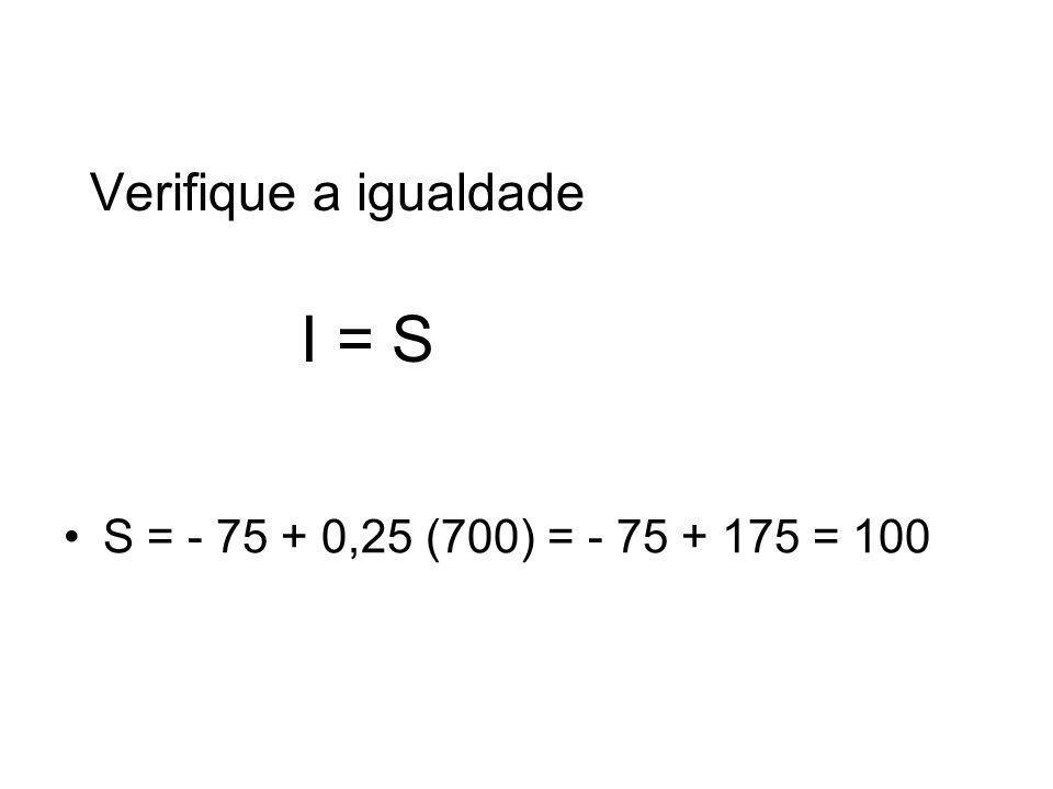 Verifique a igualdade I = S