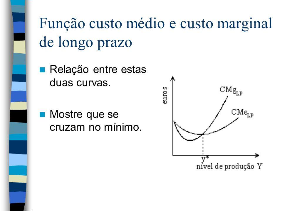 Função custo médio e custo marginal de longo prazo