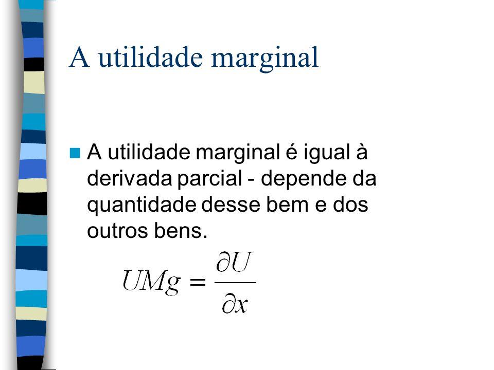A utilidade marginalA utilidade marginal é igual à derivada parcial - depende da quantidade desse bem e dos outros bens.