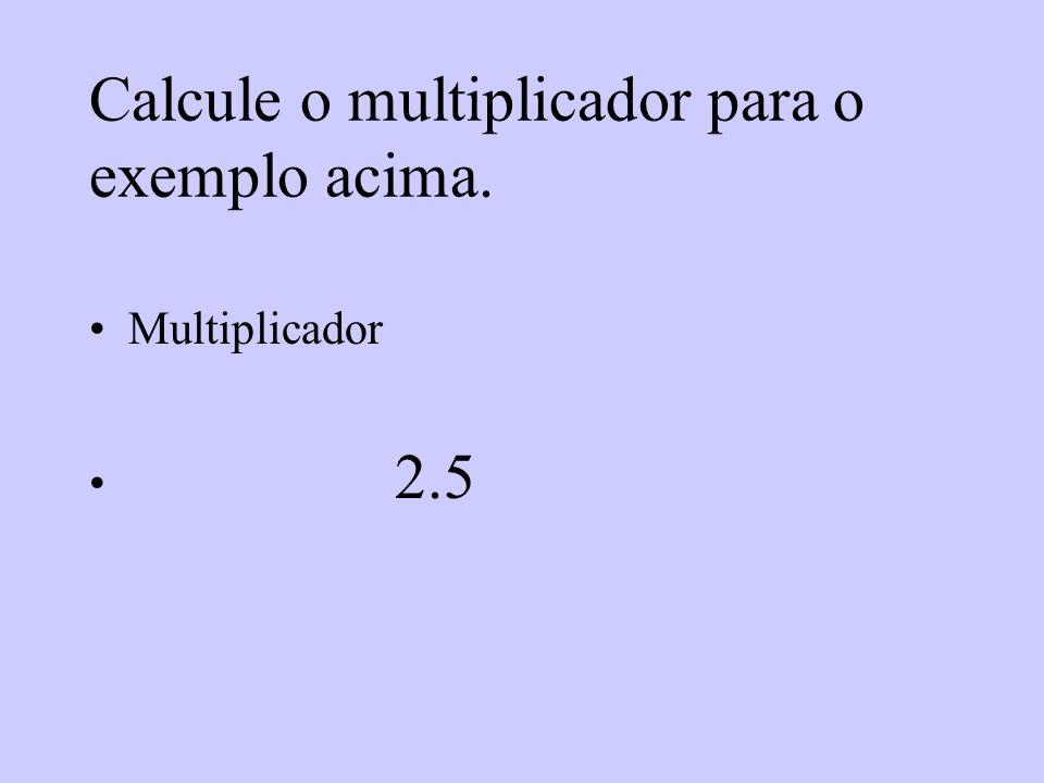 Calcule o multiplicador para o exemplo acima.