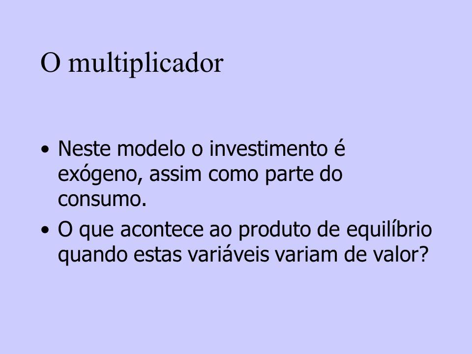 O multiplicador Neste modelo o investimento é exógeno, assim como parte do consumo.