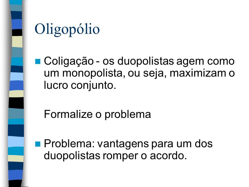 Oligopólio Coligação - os duopolistas agem como um monopolista, ou seja, maximizam o lucro conjunto.