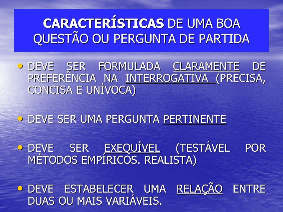 CARACTERÍSTICAS DE UMA BOA QUESTÃO OU PERGUNTA DE PARTIDA