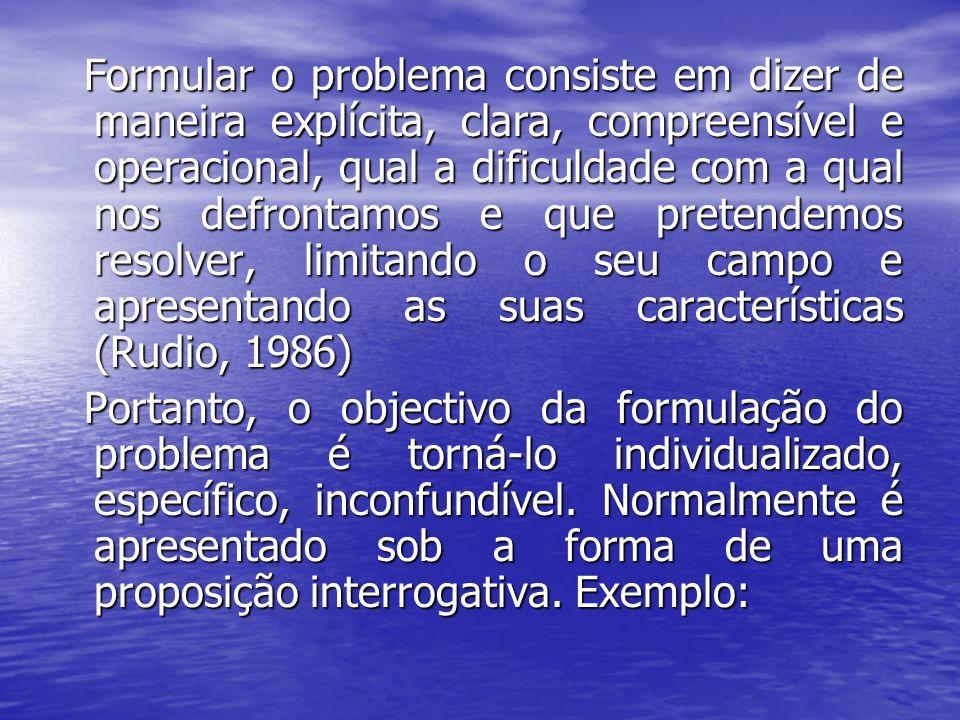 Formular o problema consiste em dizer de maneira explícita, clara, compreensível e operacional, qual a dificuldade com a qual nos defrontamos e que pretendemos resolver, limitando o seu campo e apresentando as suas características (Rudio, 1986)