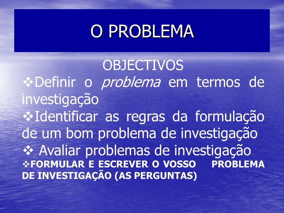 O PROBLEMA OBJECTIVOS Definir o problema em termos de investigação