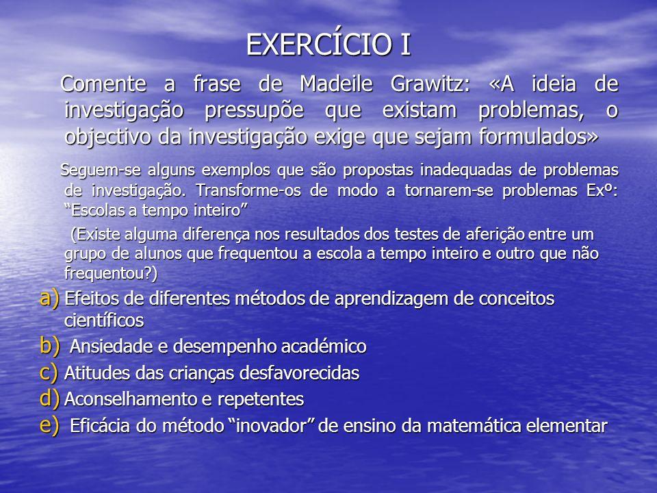 EXERCÍCIO I