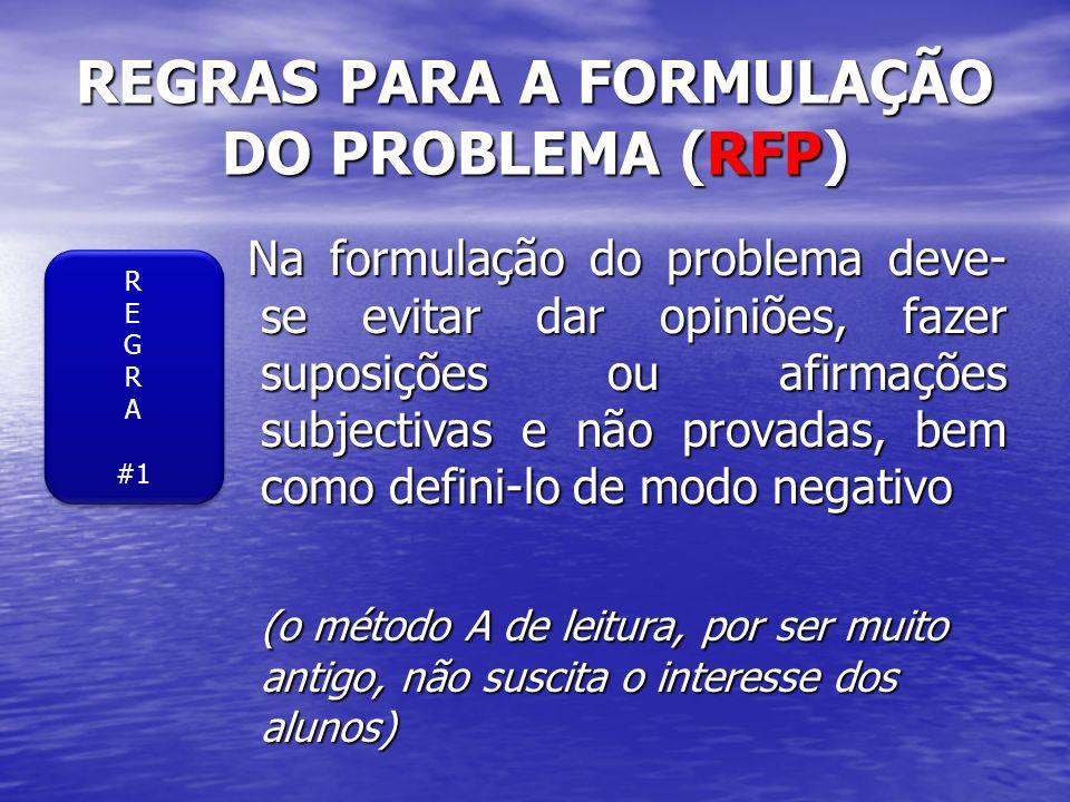 REGRAS PARA A FORMULAÇÃO DO PROBLEMA (RFP)