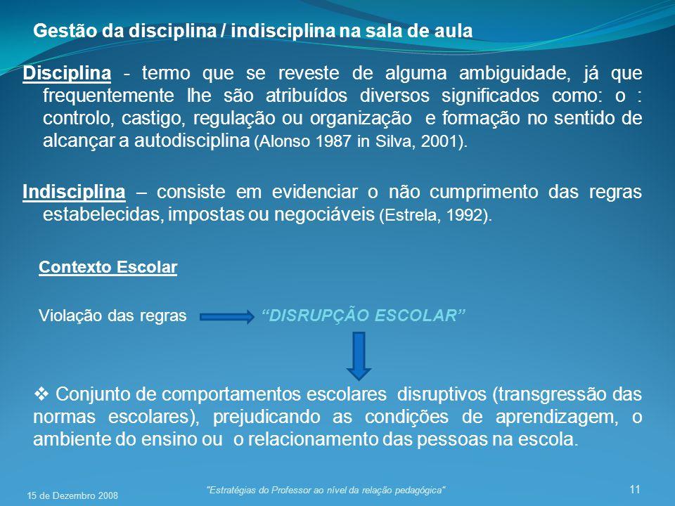 Gestão da disciplina / indisciplina na sala de aula