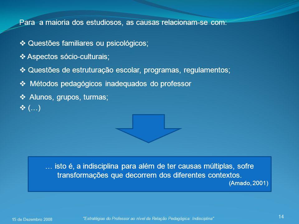 Para a maioria dos estudiosos, as causas relacionam-se com:
