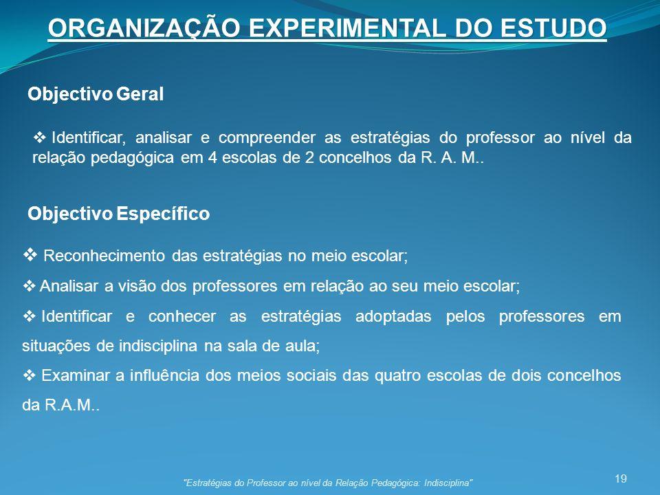 ORGANIZAÇÃO EXPERIMENTAL DO ESTUDO