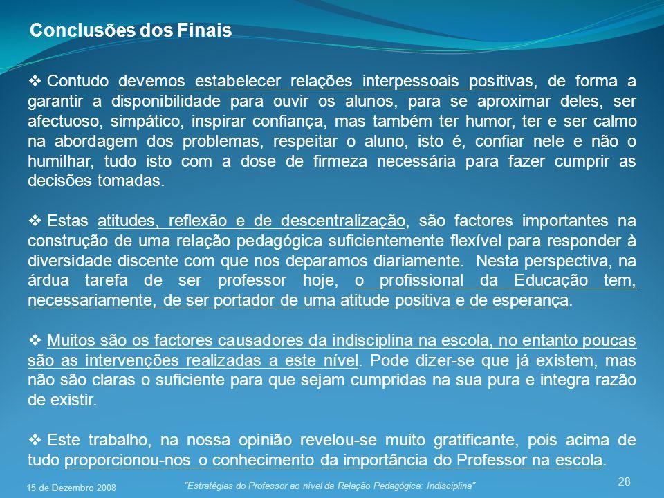 Conclusões dos Finais
