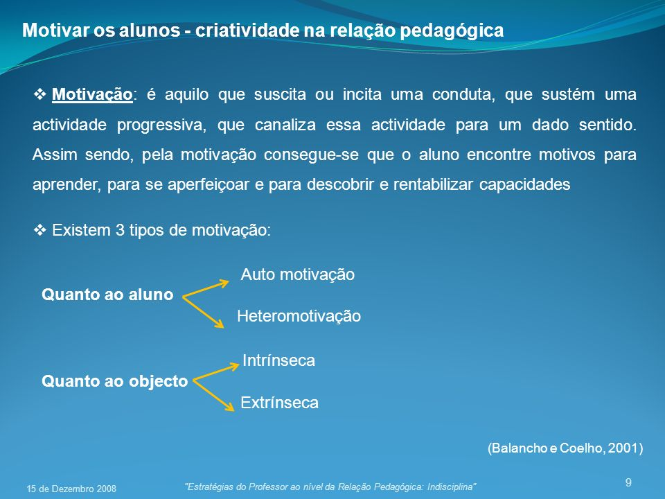Motivar os alunos - criatividade na relação pedagógica