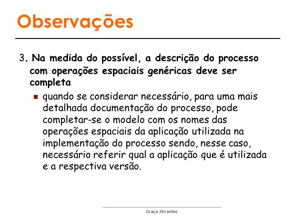 Observações 3. Na medida do possível, a descrição do processo com operações espaciais genéricas deve ser completa.