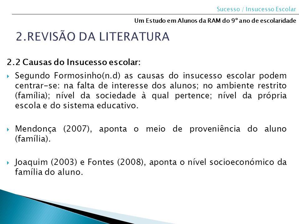 2.Revisão da literatura 2.2 Causas do Insucesso escolar: