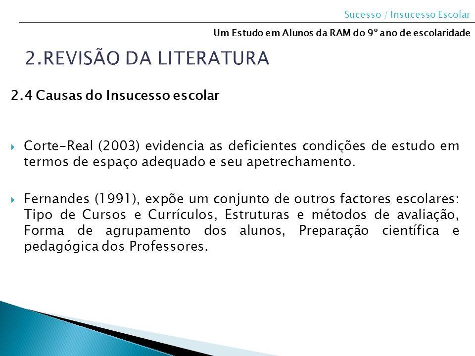 2.Revisão da literatura 2.4 Causas do Insucesso escolar