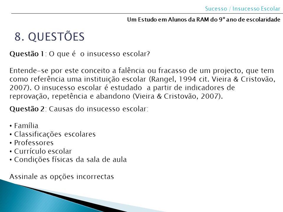 8. questões Questão 1: O que é o insucesso escolar