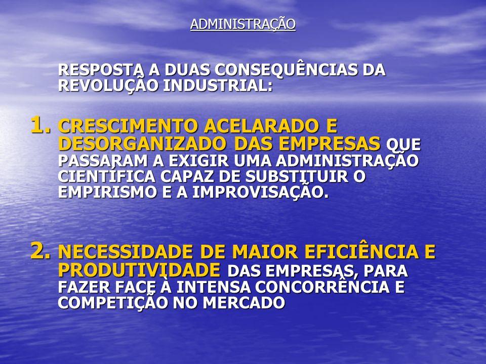 ADMINISTRAÇÃORESPOSTA A DUAS CONSEQUÊNCIAS DA REVOLUÇÃO INDUSTRIAL: