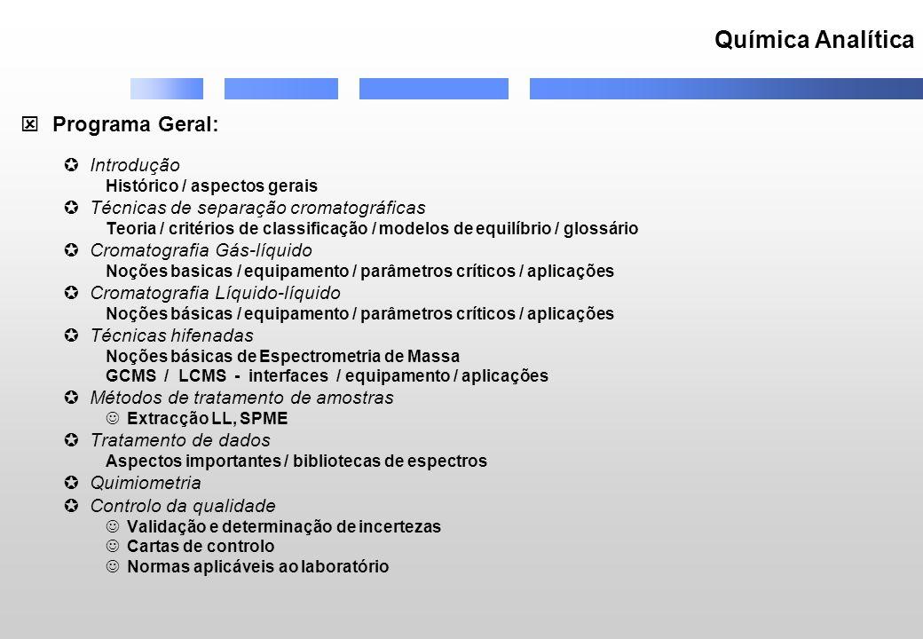 Química Analítica Programa Geral: Introdução