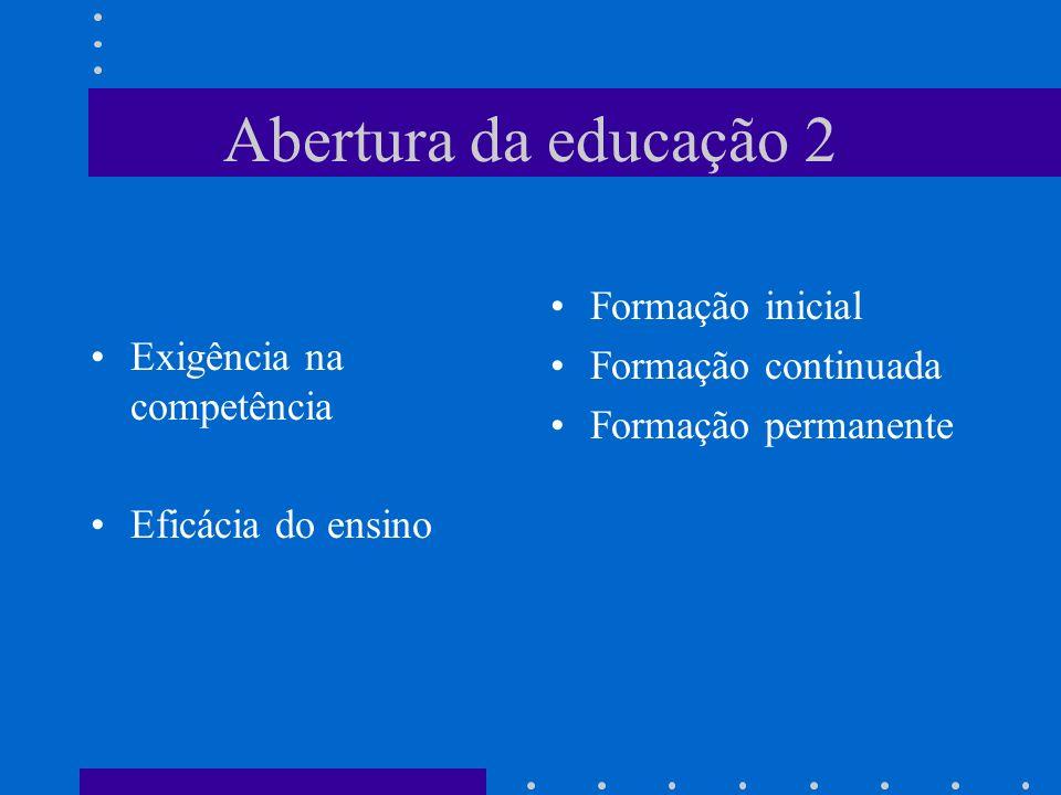 Abertura da educação 2 Formação inicial Exigência na competência