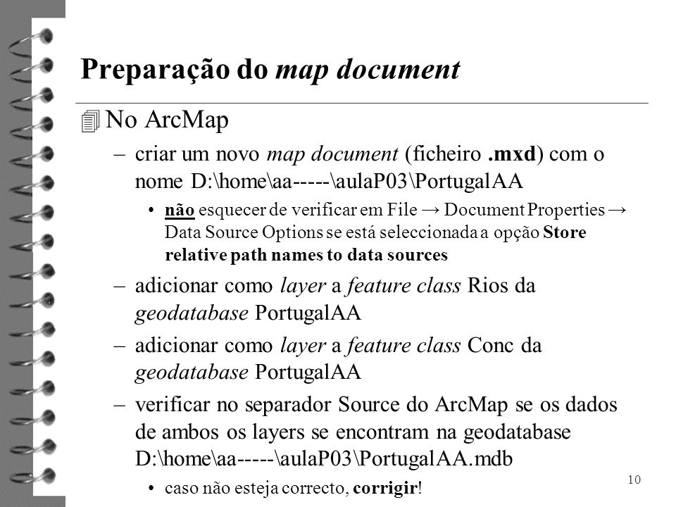 Preparação do map document