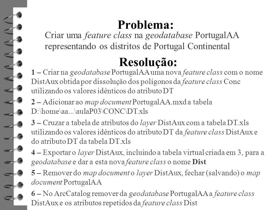 Problema: Criar uma feature class na geodatabase PortugalAA representando os distritos de Portugal Continental.