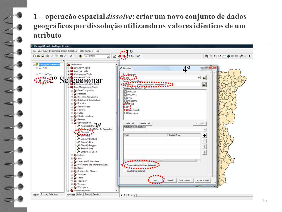 1 – operação espacial dissolve: criar um novo conjunto de dados geográficos por dissolução utilizando os valores idênticos de um atributo