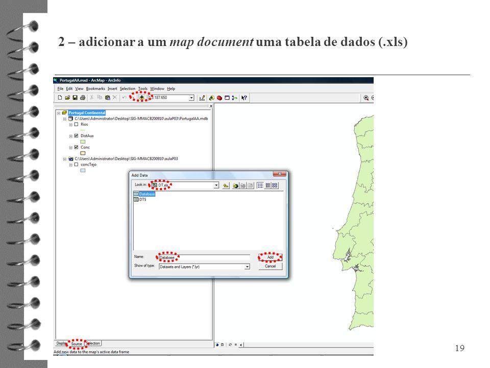 2 – adicionar a um map document uma tabela de dados (.xls)