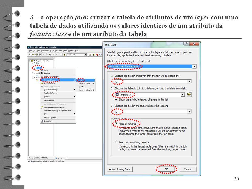3 – a operação join: cruzar a tabela de atributos de um layer com uma tabela de dados utilizando os valores idênticos de um atributo da feature class e de um atributo da tabela