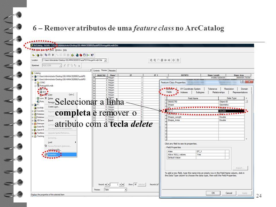 6 – Remover atributos de uma feature class no ArcCatalog
