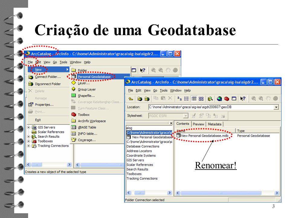 Criação de uma Geodatabase