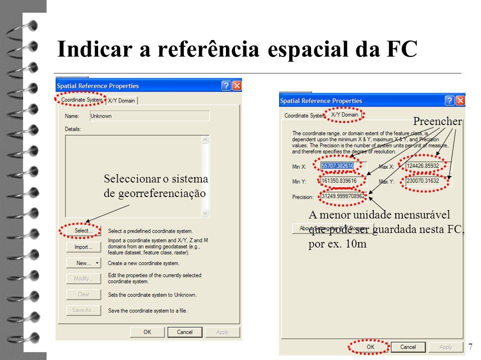 Indicar a referência espacial da FC