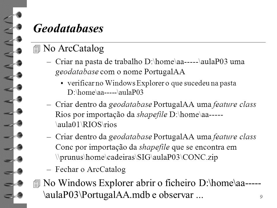 Geodatabases No ArcCatalog