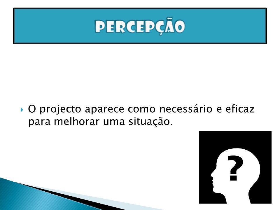 Percepção O projecto aparece como necessário e eficaz para melhorar uma situação.