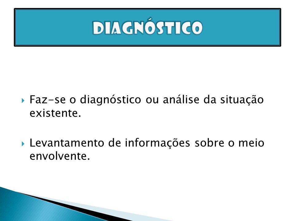 diagnóstico Faz-se o diagnóstico ou análise da situação existente.