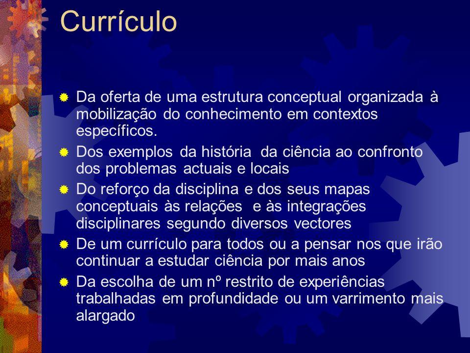 Currículo Da oferta de uma estrutura conceptual organizada à mobilização do conhecimento em contextos específicos.