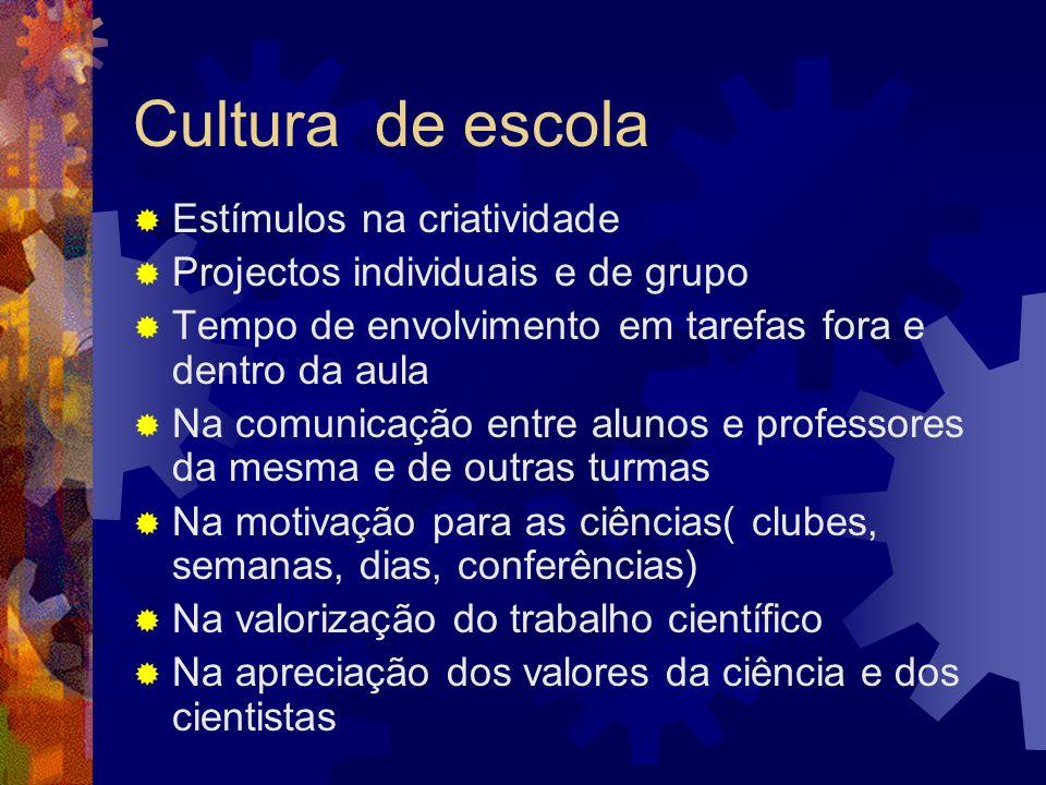 Cultura de escola Estímulos na criatividade