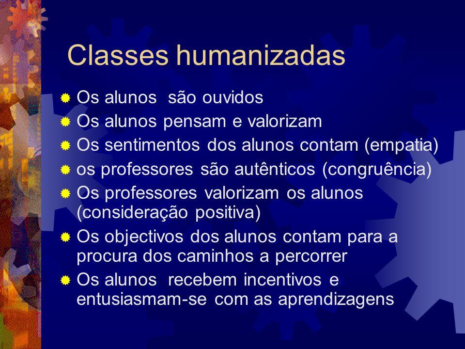 Classes humanizadas Os alunos são ouvidos Os alunos pensam e valorizam