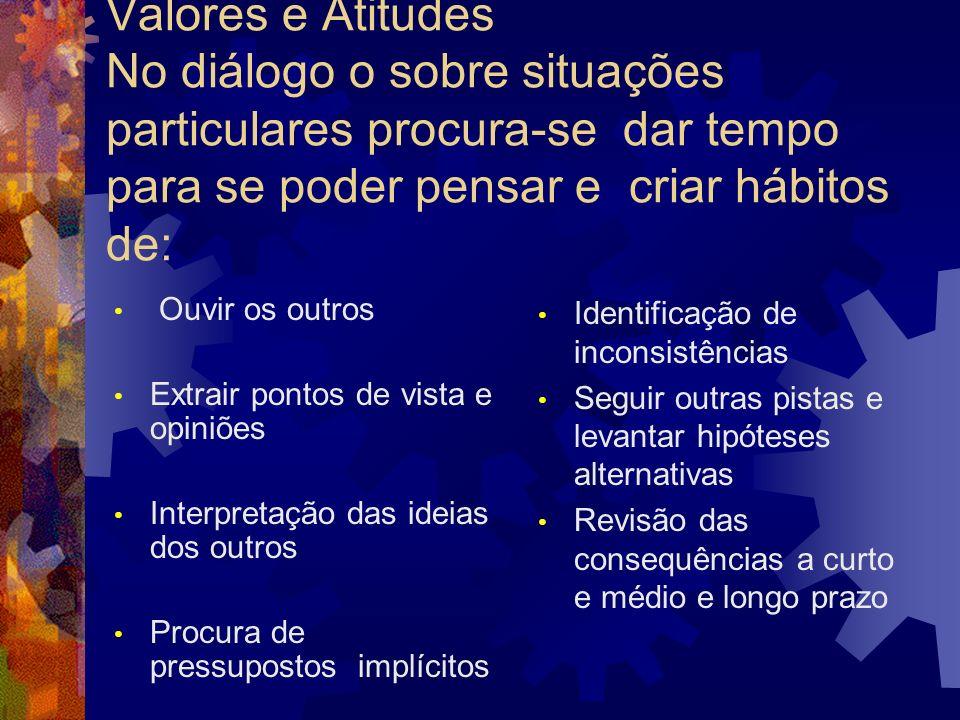 Valores e Atitudes No diálogo o sobre situações particulares procura-se dar tempo para se poder pensar e criar hábitos de:
