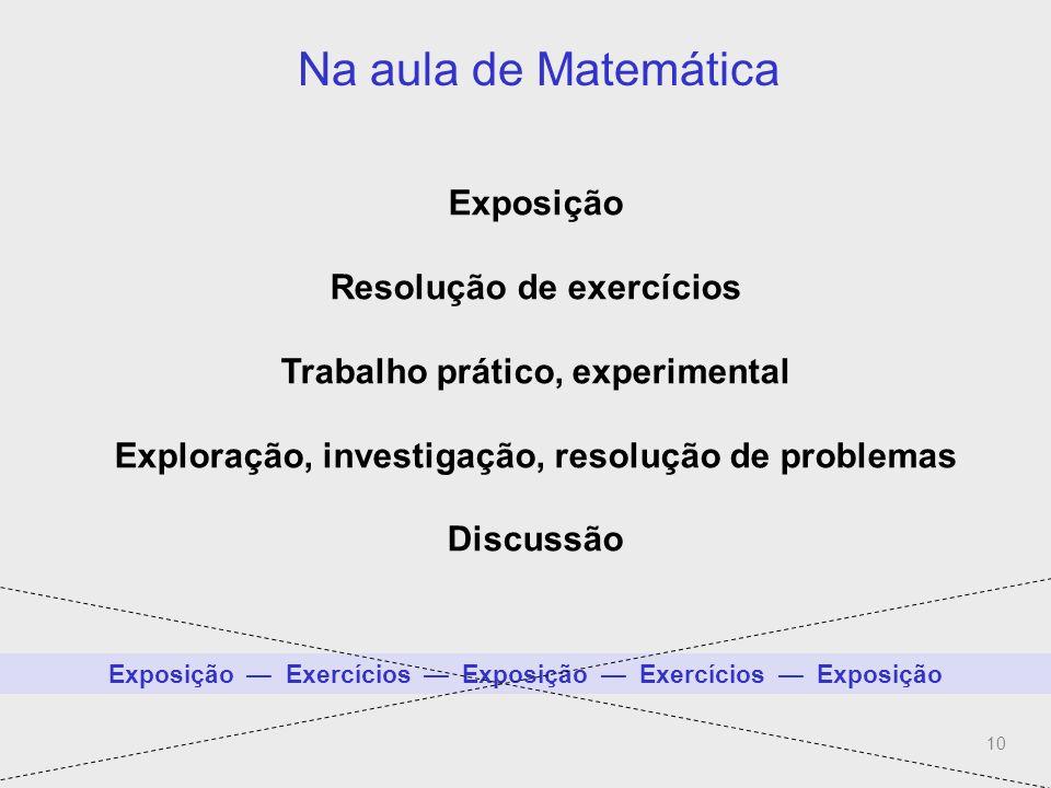 Na aula de Matemática (Mais do que exposição-exercícios)