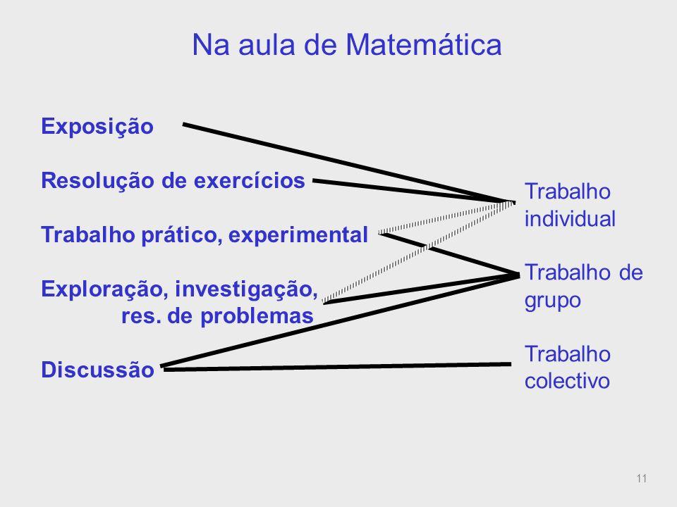 Na aula de Matemática (relação com estilos de trabalho)