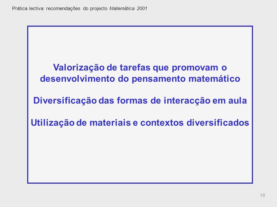 Prática lectiva: recomendações do projecto Matemática 2001