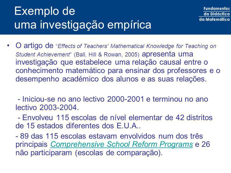 Exemplo de uma investigação empírica