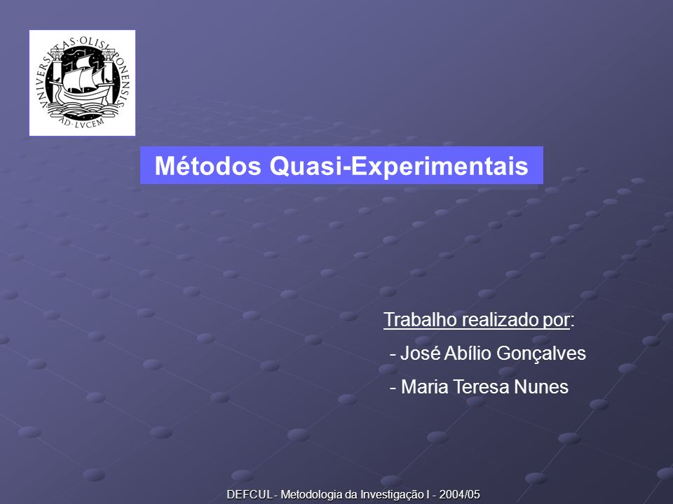 Métodos Quasi-Experimentais