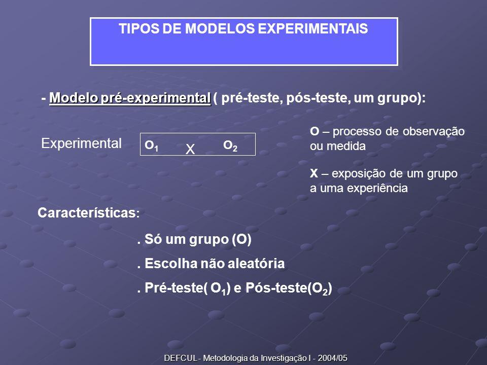 TIPOS DE MODELOS EXPERIMENTAIS