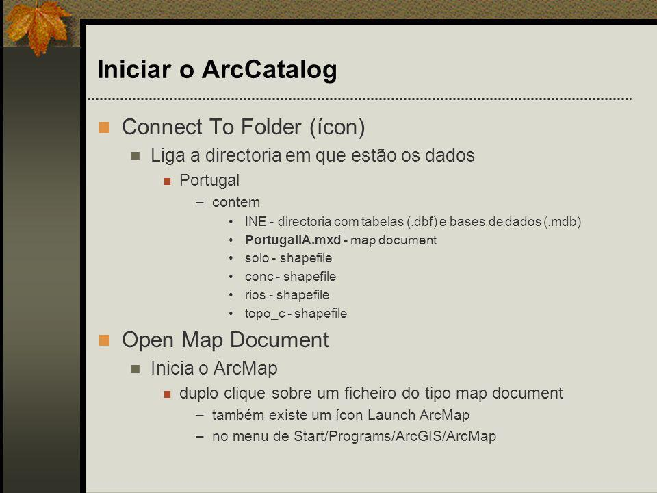 Iniciar o ArcCatalog Connect To Folder (ícon) Open Map Document