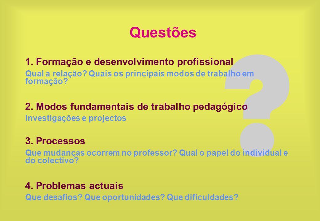 Questões 1. Formação e desenvolvimento profissional