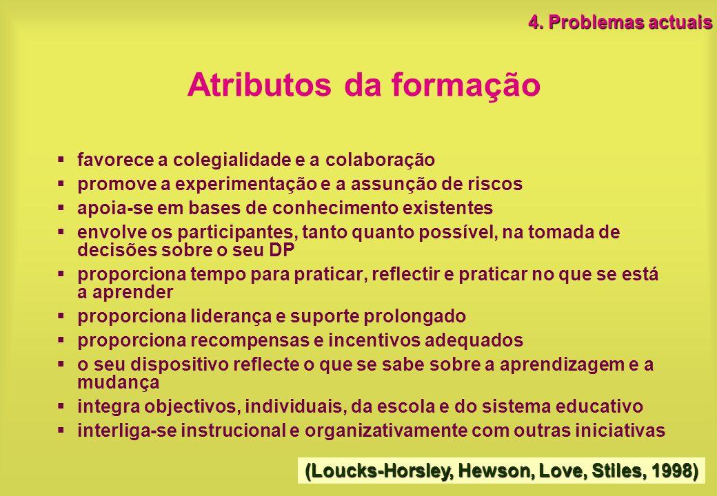 Atributos da formação 4. Problemas actuais