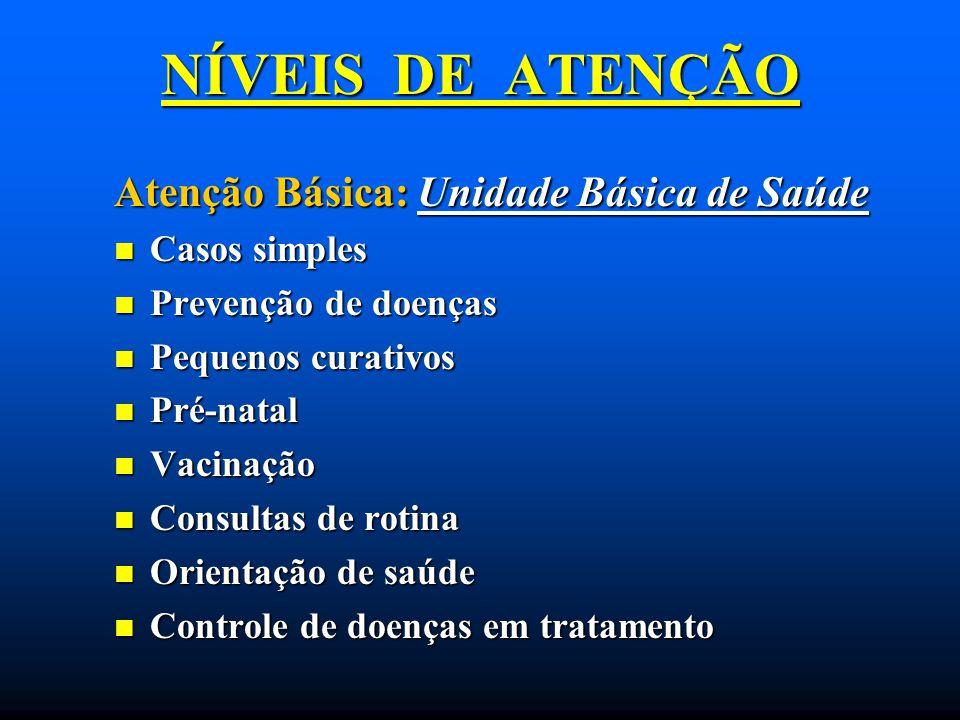 NÍVEIS DE ATENÇÃO Atenção Básica: Unidade Básica de Saúde